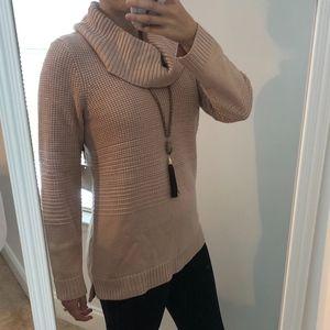 {NEW} Blush Pink & Gold Metallic Cowl Neck Sweater